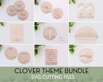 SVG Clover Theme Bundle File Set of Baby Milestones, Digital Cut Files for Glowforge Laser, Gender Neutral Baby Decor, Mid Century Modern