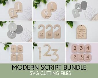 SVG Modern Bundle File Set of Baby Milestones, Digital Cut Files for Glowforge Laser, Gender Neutral Baby Decor, Mid Century Modern