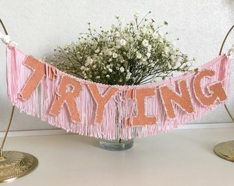 Trying FUN CULT Fringe Banner   trying garland, wall hanging banner, fringe wall hanging, office decor, dorm room decor, funny banner