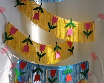 Tulip Fringe Banner | fringe wall hanging, flower banner, party garland, wall decor, dorm decor