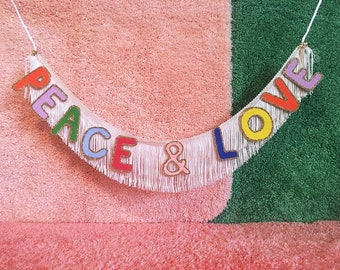 Peace & Love Fringe Banner | fringe wall hanging, wall decor, glitter banner, party banner, peace and love home decor sign