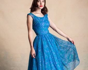 Vintage 1950s blue floral chiffon party dress / ruched bodice / extra full skirt / built in crinoline / size S/XS
