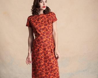 Vintage early 1960s orange rose print dress / dropped hip panel / boat neck / Mad Men / size S