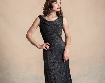Vintage 1950s black and silver lurex wiggle dress with gathered bodice and draped neckline / bombshell / VLV / size XS/S