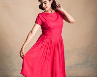 1950s/60s hot pink chiffon party dress / gathered shoulders / full skirt / R&K Originals/ pinup / size L