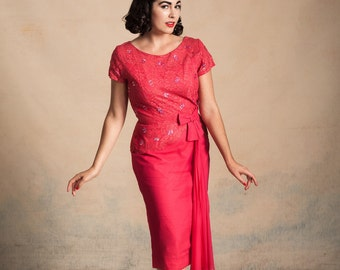 Vintage 1950s/early 60s hot pink lace and chiffon cocktail dress with sequins / bow and hip swag / Marilyn Monroe / size M