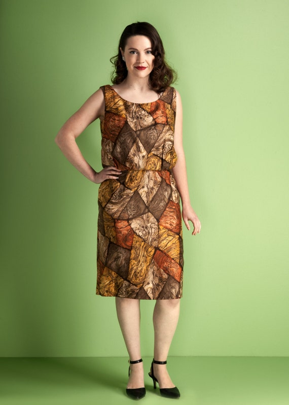 Vintage 1960s bloused top wiggle dress / autumnal