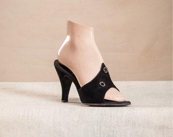 Vintage 1950s black suede springolators / pointed vamps / rhinestones / An American Girl Shoe / pinup