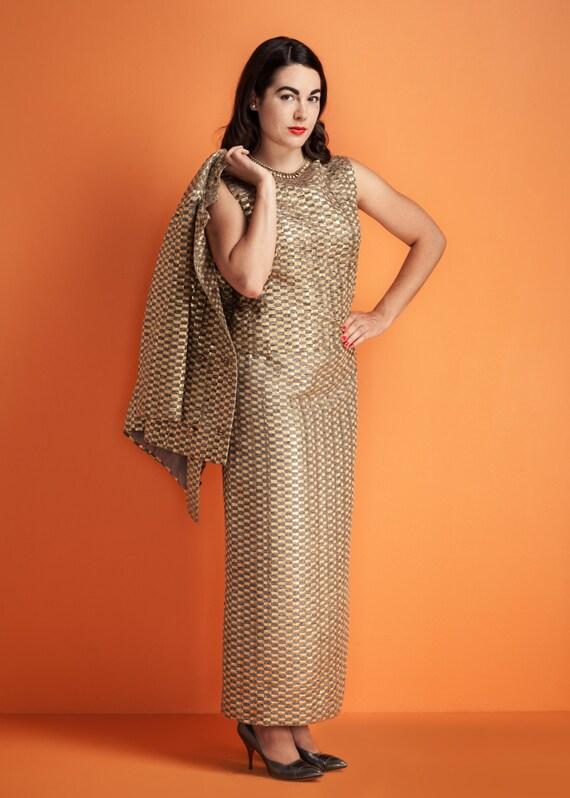 Vintage 1960s 4 PIECE skirt suit set / metallic go