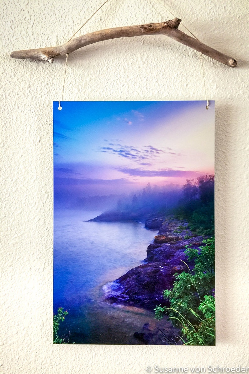 cb3e8bef776a Metal Print Lake Superior Photo Foggy Evening Mood North