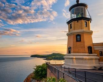 Split Rock Lighthouse, Nature Photography, North Shore, Lake Superior, Summer Evening, Sunset Colors, Orange, Clouds, Minnesota Landmark