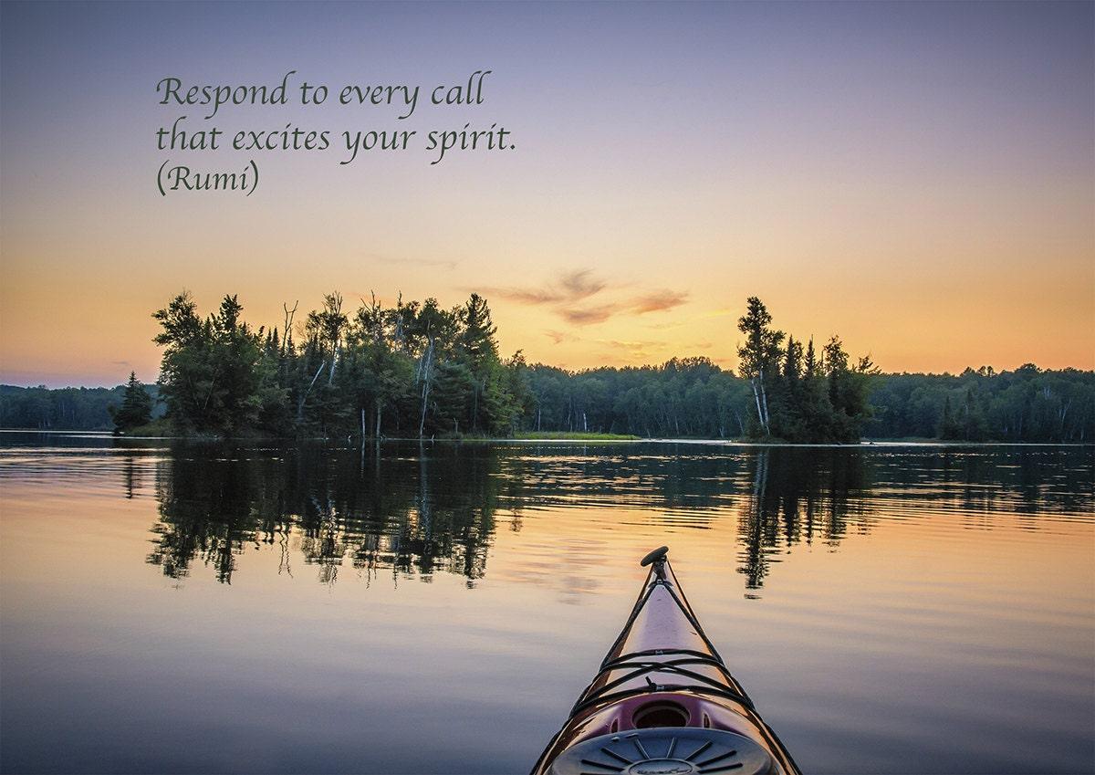 Rumi Quote Inspirational Poetry Greeting Card Kayak Lake Etsy