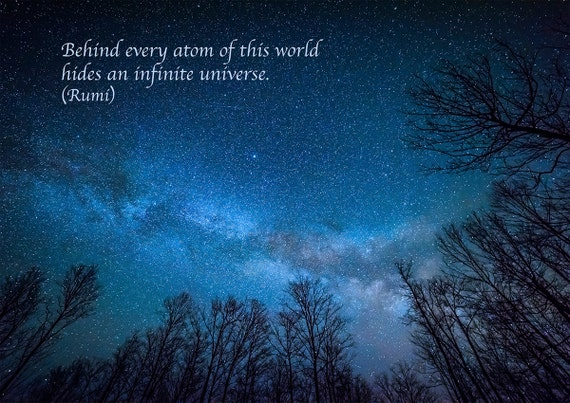 Rumi Quote Inspirational Poetry Greeting Card Milky Way Etsy