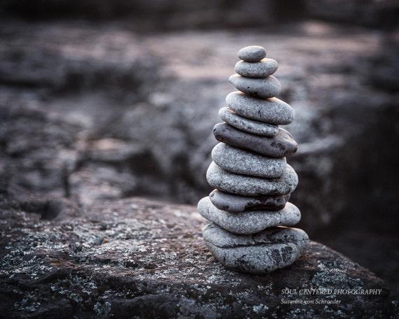 Rock Cairn Lake Superior Rocks Zen Art Stacked Rocks Etsy