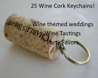 Wine Cork Keychain, 25 Keychains, Wine Cork Key Chain, Wine Decor, Unique Wedding Favors, Wine Gift, Wine Themed Wedding