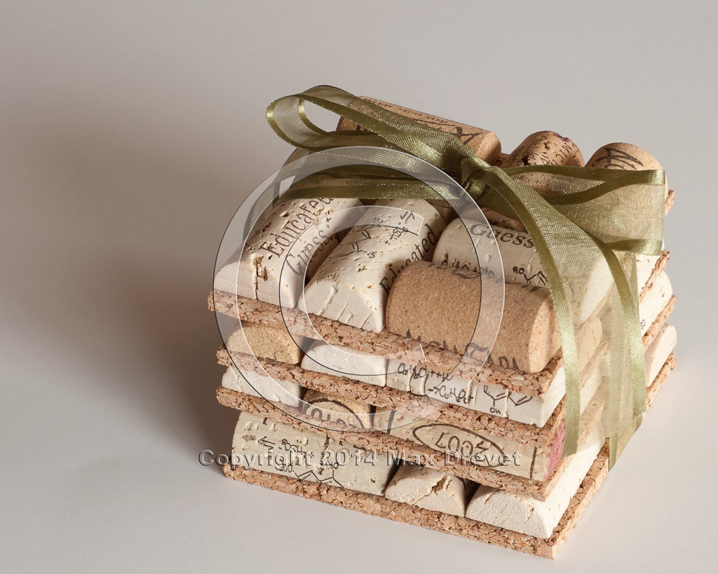 Wedding Favors Wine Cork Coasters Set Of 4 Wine Cork Crafts Etsy