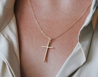 Gold cross necklace, delicate silver cross necklace, cross necklace for girls, communion cross necklace, gift for her, mom gift