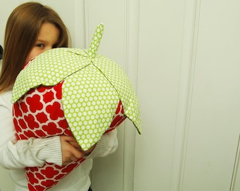 Strawberry Pillow, Red Quatrefoil, 3D large strawberry modern home decor. Giant strawberry shaped pillow, strawberry lovers, fruit pillow