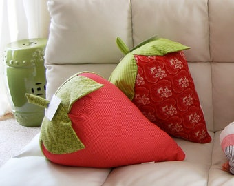 Giant Strawberry Pillow- 3D large strawberries for whimsical novelty home decor.  Red Pillow, conversation ice breaker