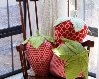 Strawberry Pillows Set of 3, 3D large strawberries-whimsical home decor. Giant strawberry shaped pillow, strawberry lovers, fruit pillow