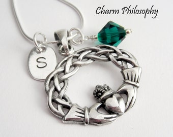 Claddagh Necklace - 925 Sterling Silver Jewelry - Irish Claddagh Pendant with Personalized Initial & Birthstone - Love, Friendship, Loyalty
