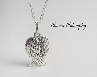 Angel Wings Necklace - 925 Sterling Silver - Folded Wings Pendant - Griever Necklace - Grief Jewelry