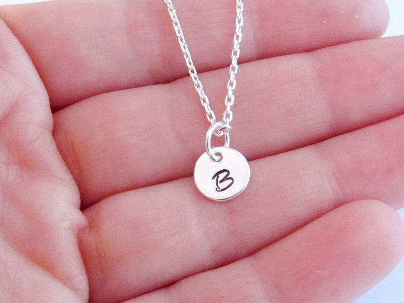 8mm Round Initial Charms Personalized 925 Sterling Silver Jewelry Monogram Letters Necklace Alphabet Necklace Mother/'s Necklace