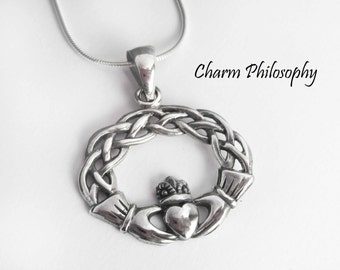 Claddagh necklace irish jewelry irish necklace friendship claddagh necklace 925 sterling silver jewelry irish claddagh pendant love friendship aloadofball Image collections