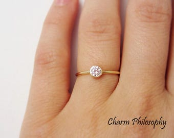 Simple Gold Ring - Round Solitaire Cubic Zirconia Gemstone - Gold Plated 925 Sterling Silver Jewelry
