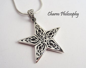 Celtic Star Necklace - 925 Sterling Silver Jewelry - Star Pendant