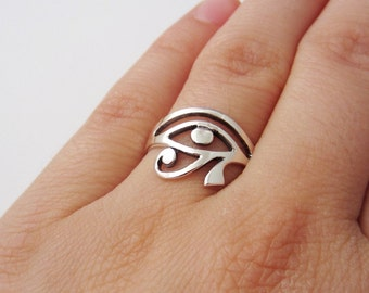 Egyptian Eye of Horus Ring - 925 Sterling Silver Jewelry