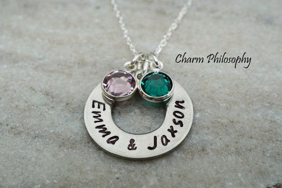with or without date hand stamped stainless steel Personalized Mother of twins necklace