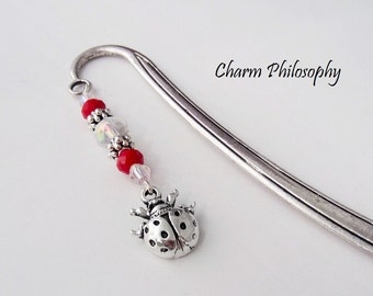 Ladybug Bookmark - Tibetan Silver Bookmark - Teacher Gifts - Insect Gifts
