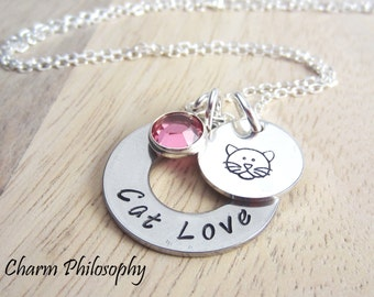 Cat Love Necklace - Cat Jewelry - Cat Lover Gifts - Personalized Swarovski Birthstone Necklace