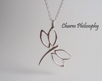 925 Sterling Silver Dragonfly Necklace - Dragonfly Jewelry - Dragonfly Pendant
