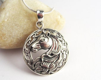 Beautiful Horse Necklace - 925 Sterling Silver Round Horse Head Pendant - Equestrian Jewelry