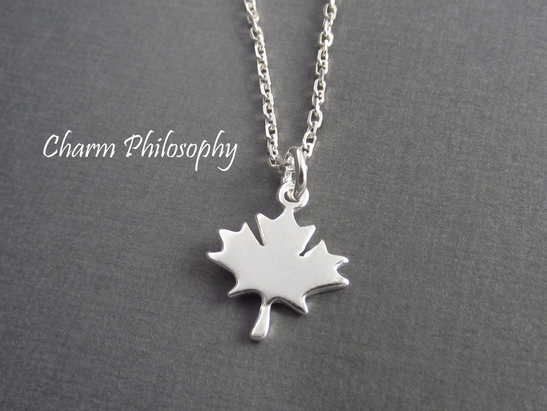 Maple Leaf Necklace  Small Canada Charm Jewelry  925 image 0