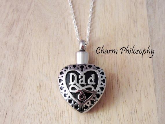 Dad Memorial Necklace Hollow Heart Pendant Keepsake Etsy
