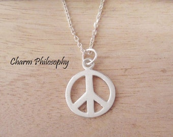 Peace Sign Necklace - 925 Sterling Silver Jewelry - Hippie Gifts - Peace Symbol