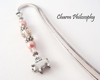 Pig Bookmark - Beaded Tibetan Silver Charm Bookmark - Pig Charm - Teacher Gift Ideas