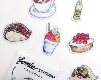 Food Travels Stickers - Austin