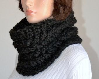 Double Cable Faux Cowl/ Black Crochet Cowl/ Black Cable Neck Warmer/ Crochet Neck Warmer/ Winter Cowl/ Winter Cowl Scarf/ Black Cowl Scarf