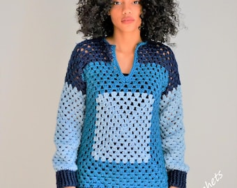 Granny Square Crochet Long Sleeve Blouse/Sweater