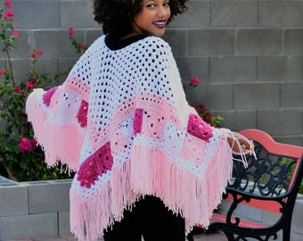 Breast Cancer Awareness Shawl/ Crochet Poncho/ Breast Cancer Afghan/ Fringed Boho Shawl/ Fringed Poncho/ Pink Crochet Poncho