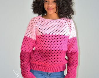 Crochet Pink Sweater/ Valentines Pullover/ Valentines Granny Square Sweater