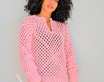 Crochet Valentines Top/ Valentines Crochet Granny Pullover Blouse/ Crochet Granny Square Sweater Blouse/ Medium/Large Pink Sweater