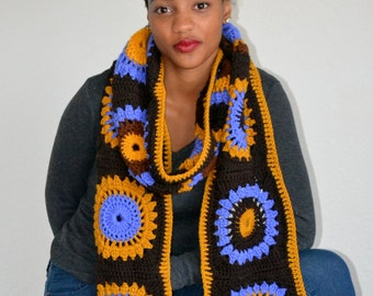 Super Granny Square Scarf/ Crochet Granny Square Scarf/ Winter Fashion Scarf/ Fall Fashion scarf/ Trending item/ High Fashion Scarf