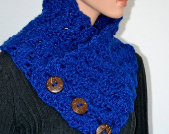 Blue Shell Neck Warmer/ Blue Crochet Shell Cowl/ Button Up Cowl/ Gift for Her/ Crochet Cowl Scarf/ Christmas Gift