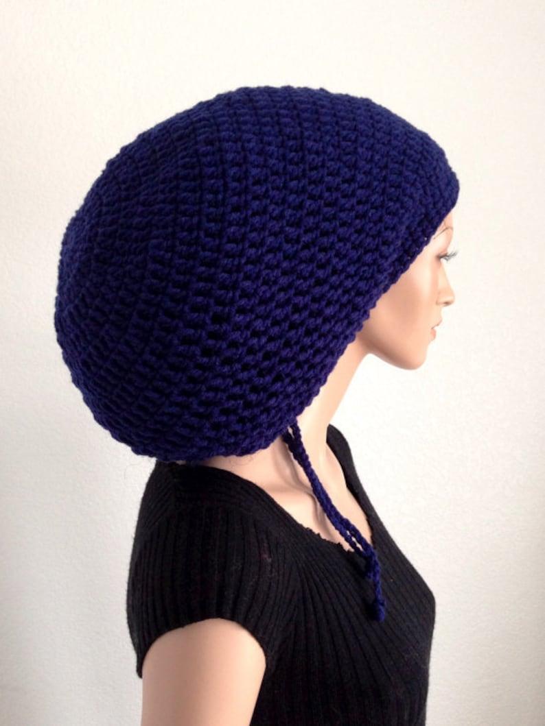 Navy Blue Crochet Tam Blue Mega TamNavy Blue Dread Tam Crochet Rasta Tam Dreadlocks Rasta Tam in Navy Blue