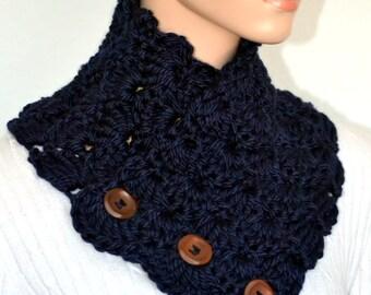 Navy Blue Shell Neck Warmer/ Crochet Shell Neck warmer/ Navy Blue Cowl/ Button up cowl